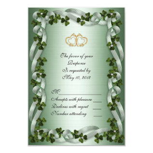 Irish Wedding Rsvp Card Shamrocks at Zazzle