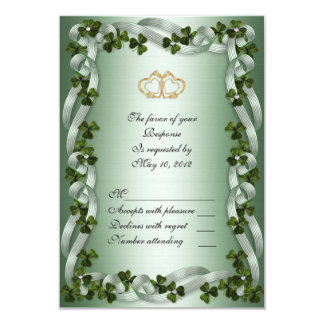 Irish wedding RSVP card shamrocks