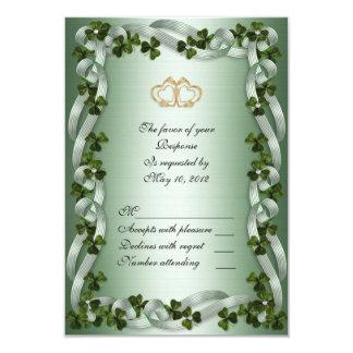 Irish wedding RSVP card shamrocks