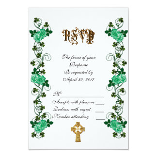 Irish wedding RSVP Celtic cross Card