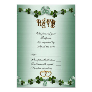 Irish wedding RSVP shamrocks Card