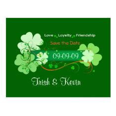 Irish Wedding Save The Date Postcard at Zazzle