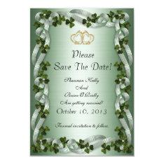 Irish Wedding Save The Date Shamrocks And Ribbons Card at Zazzle