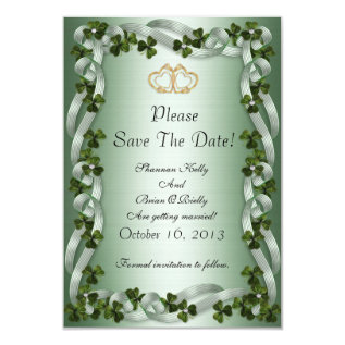 Irish Wedding Save The Date Shamrocks And Ribbons Card at Zazzle
