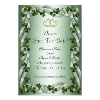 Irish wedding save the date shamrocks and ribbons card