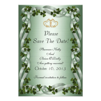 Irish wedding save the date shamrocks and ribbons custom invites