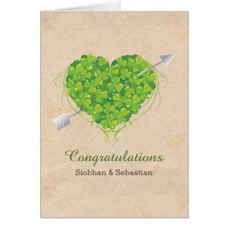 Irish Wedding Shamrock Heart Card