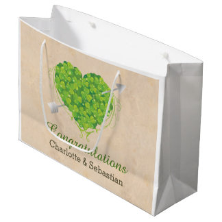 Wedding Gift Bags Ireland : Irish Wedding Shamrock Heart Large Gift Bag