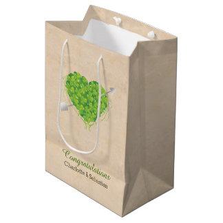 Wedding Gift Bags Ireland : Irish Wedding Shamrock Heart Medium Gift Bag