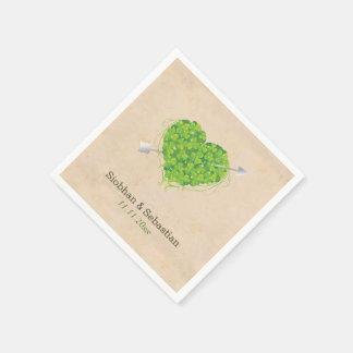 Irish Wedding Shamrock Heart Napkin