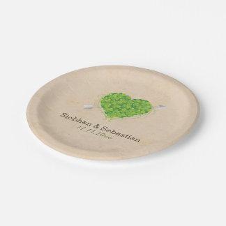 Irish Wedding Shamrock Heart Paper Plate
