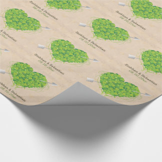 Irish Wedding Shamrock Heart Wrapping Paper