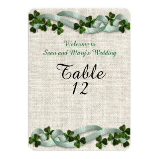 Irish Wedding Table Cards Linen Elegant at Zazzle
