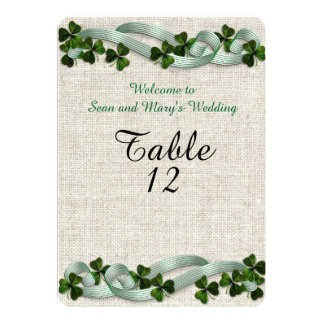 Irish wedding table cards linen elegant