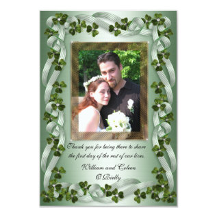 Irish Wedding Thank You Card Shamrocks at Zazzle