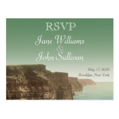 Irish Wedding Theme Cliffs Of Moher Rsvp Postcard at Zazzle