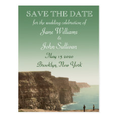 Irish Wedding Theme Cliffs Of Moher Save The Date Postcard at Zazzle