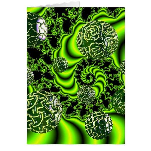 Irish Whirl - Abstract Emerald Dance Greeting Cards