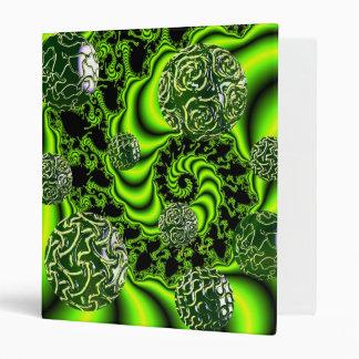 Irish Whirl - Abstract Emerald Dance Lime 3 Ring Binder