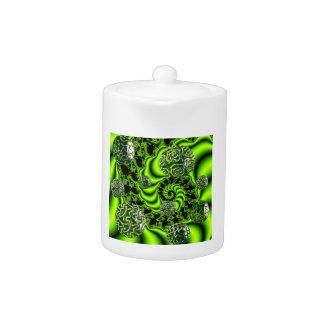 Irish Whirl - Abstract Emerald Dance Teapot