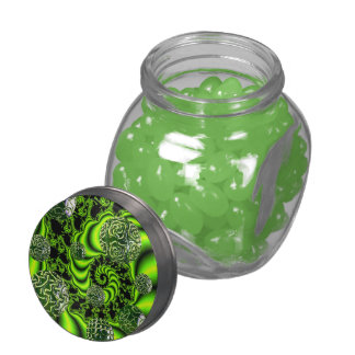 Irish Whirl, Abstract Emerald Green Dance Jelly Belly Candy Jars