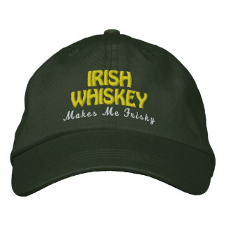 IRISH Whiskey Frisky Pine Green Hat Gold Stitch