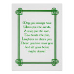 Irish wishes with Celtic design print or poster