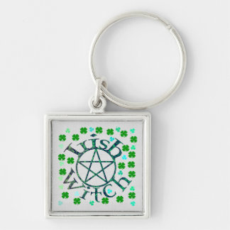 Irish Witch Silver-Colored Square Keychain