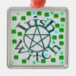 Irish Witch Square Metal Christmas Ornament