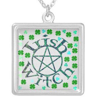 Irish Witch Square Pendant Necklace