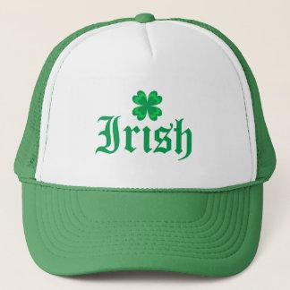 Irish with green clover trucker hat