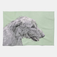 Irish Wolfhound 2 Painting - Cute Original Dog Art Kitchen Towel
