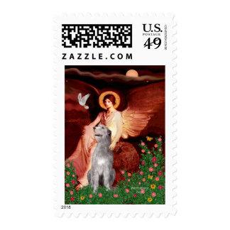 Irish Wolfhound 6 - Seated Angel Postage Stamps