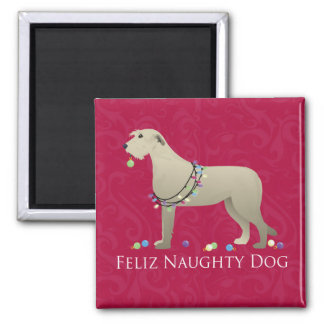 Irish Wolfhound Christmas Design 2 Inch Square Magnet