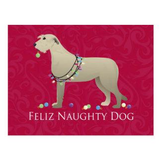 Irish Wolfhound Christmas Design Postcard