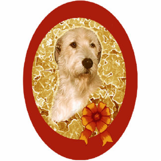 Irish Wolfhound Christmas Ornament gold and red