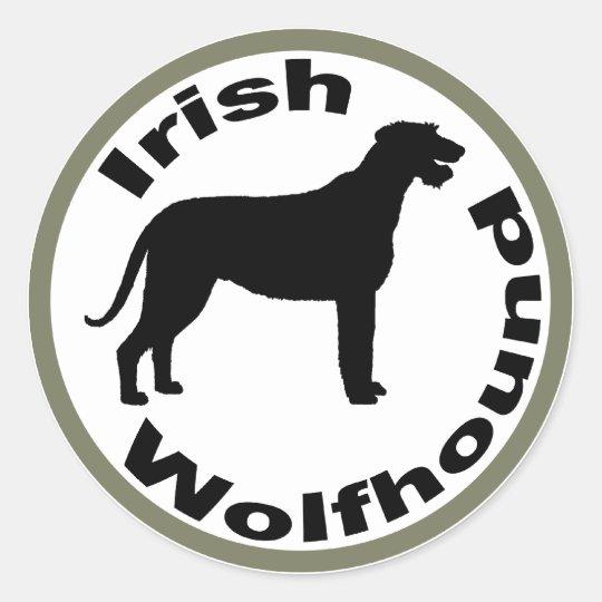 Irish Wolfhound Circle Border Classic Round Sticker