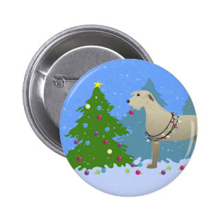 Irish Wolfhound decorating a Christmas tree-forest Pinback Button