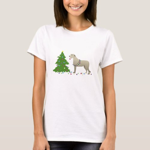 Irish Wolfhound Dog Breed Silhouette Christmas T_Shirt