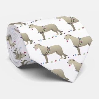 Irish Wolfhound Dog Breed Silhouette Christmas Tie
