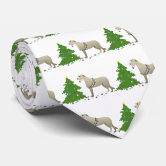 Irish Wolfhound Dog Breed Silhouette Christmas Tie