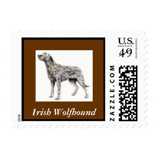 Irish Wolfhound Dog Postage Stamp for letters