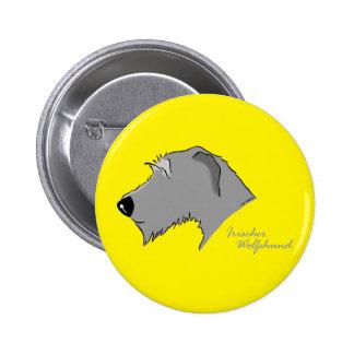 Irish Wolfhound head silhouette Button