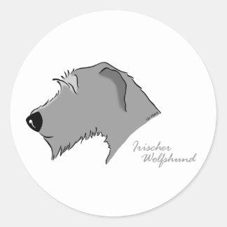 Irish Wolfhound head silhouette Classic Round Sticker