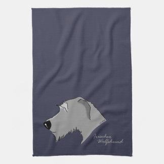 Irish Wolfhound head silhouette Kitchen Towel