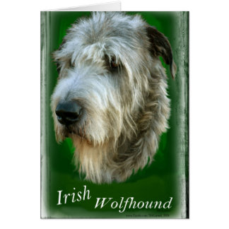 Irish Wolfhound  - Kelly Green Stationery Note Card
