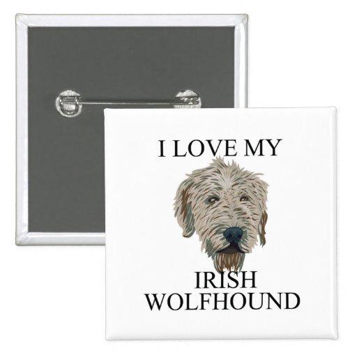 Irish Wolfhound Love! 2 Inch Square Button