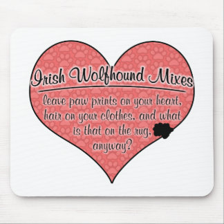Irish Wolfhound Mixes Paw Prints Dog Humor Mouse Pad