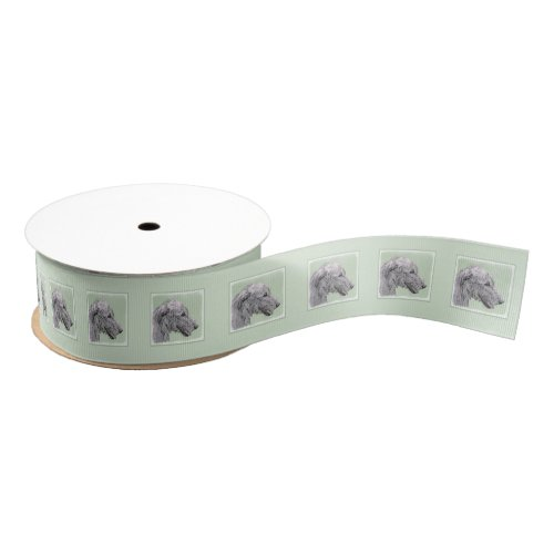 Irish Wolfhound Painting _ Cute Original Dog Art Grosgrain Ribbon