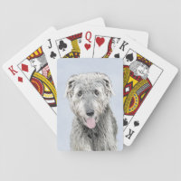 Irish Wolfhound Painting - Cute Original Dog Art Playing Cards